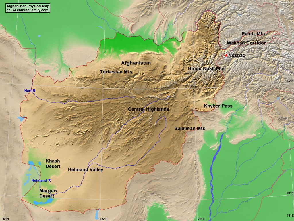 Afghanistan Physical Map A Learning Family