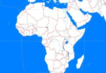 African continent outline map (cc: A Learning Family).