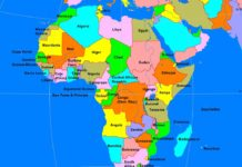 African continent political map (cc: A Learning Family).
