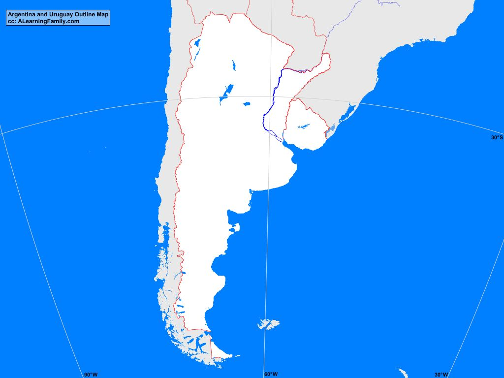 Argentina And Uruguay Outline Map A Learning Family - Argentina map outline