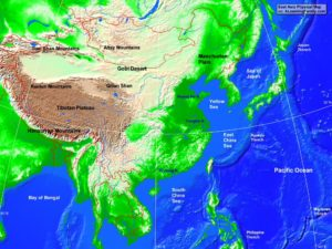 East Asia physical map (cc: A Learning Family).