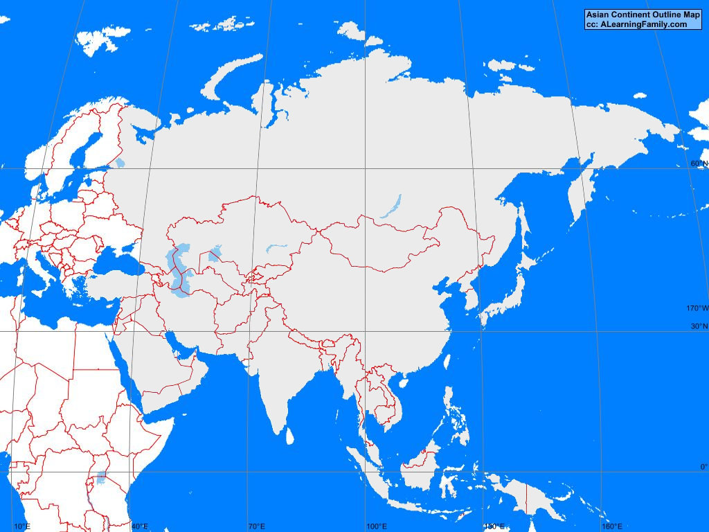 asian continent outline map cc a learning family