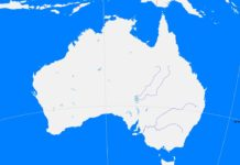 Australia outline map (cc: A Learning Family).