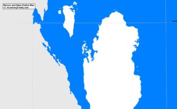 Bahrain and Qatar outline map (cc: A Learning Family).