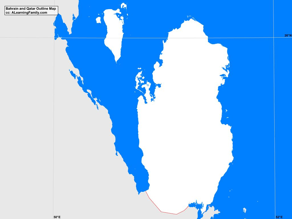 Bahrain and Qatar Outline Map - A Learning Family