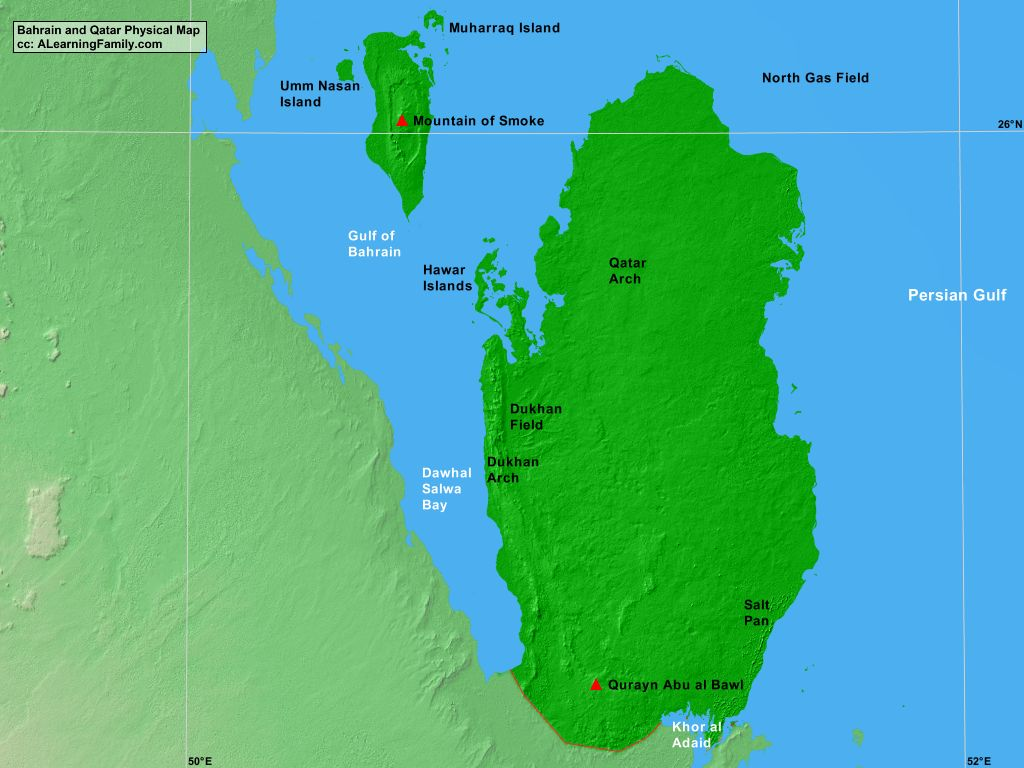 Bahrain and qtar physical map a learning family bahrain and qatar physical map cc a learning family publicscrutiny Images
