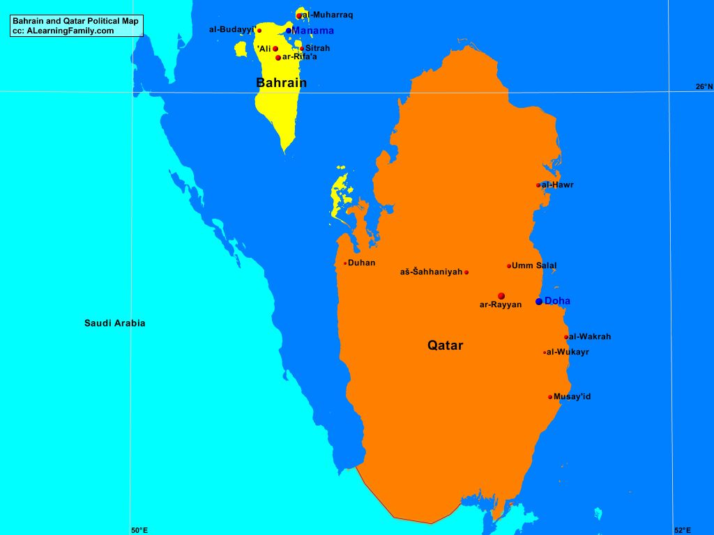 Bahrain and Qatar Political Map A Learning Family