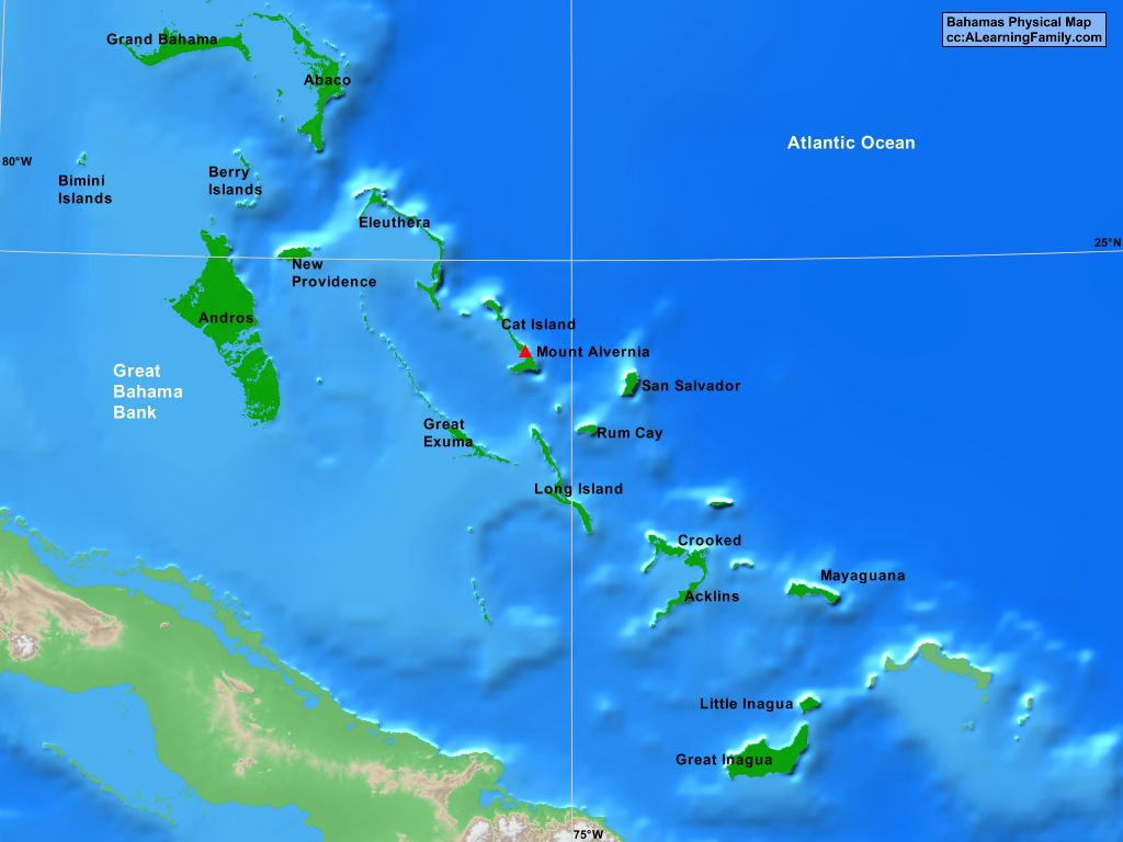 bahamas physical map (cc a learning family). bahamas physical map  a learning family