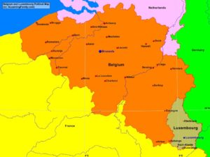 Belgium and Luxembourg political map (cc: A Learning Family).
