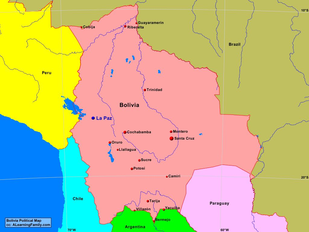 Bolivia Political Map A Learning Family