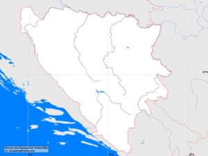 Bosnia and Herzegovina outline map (cc: A Learning Family).