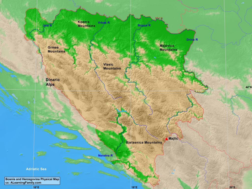Bosnia and Herzegovina Physical Map - A Learning Family on