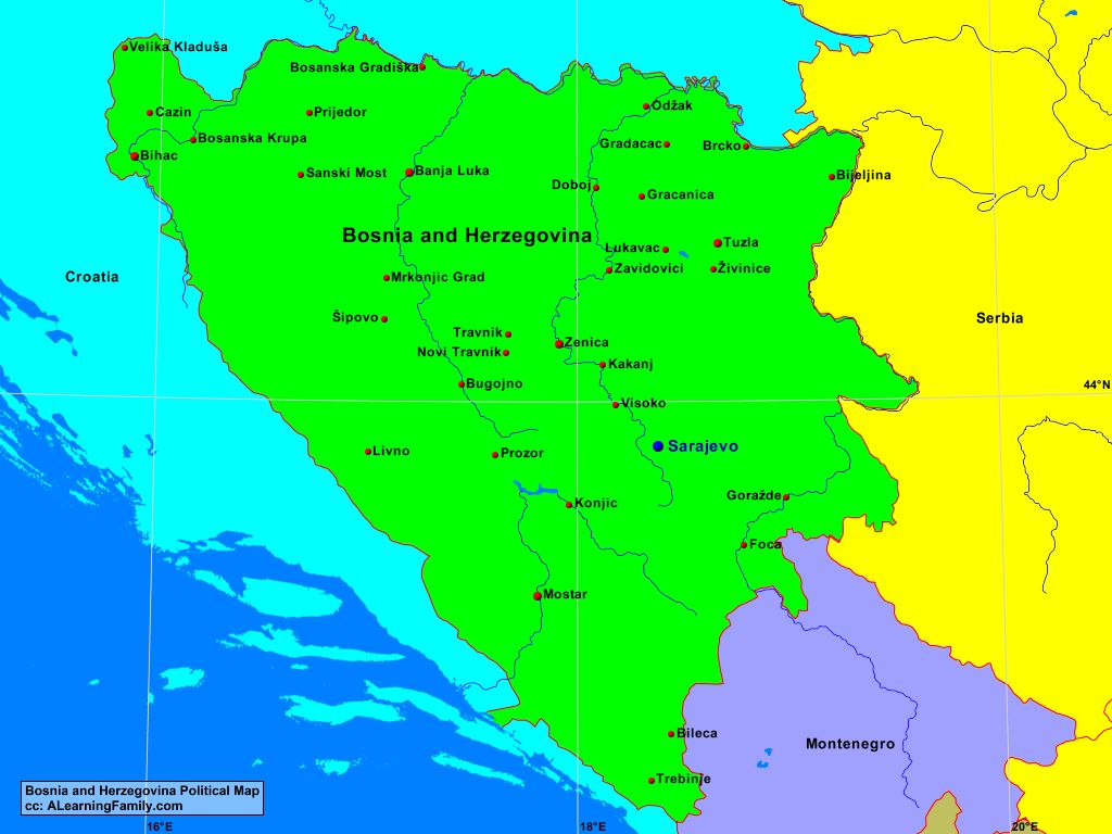 Bosnia and Herzegovina Political Map - A Learning Family