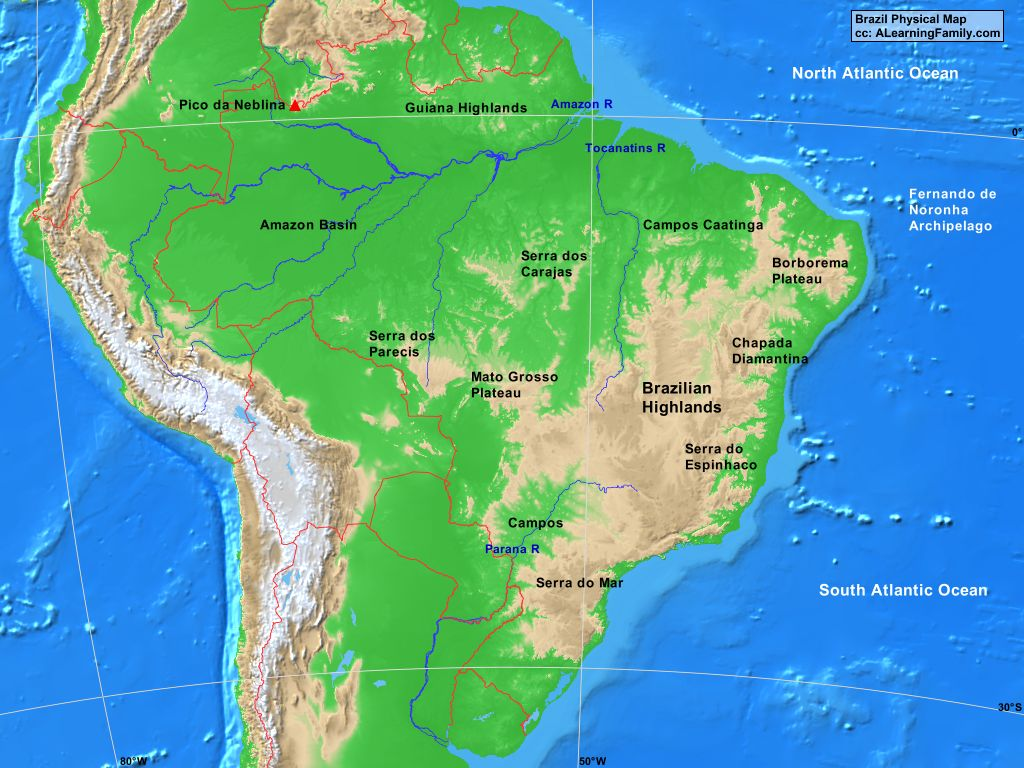 Brazil Physical Map A Learning Family