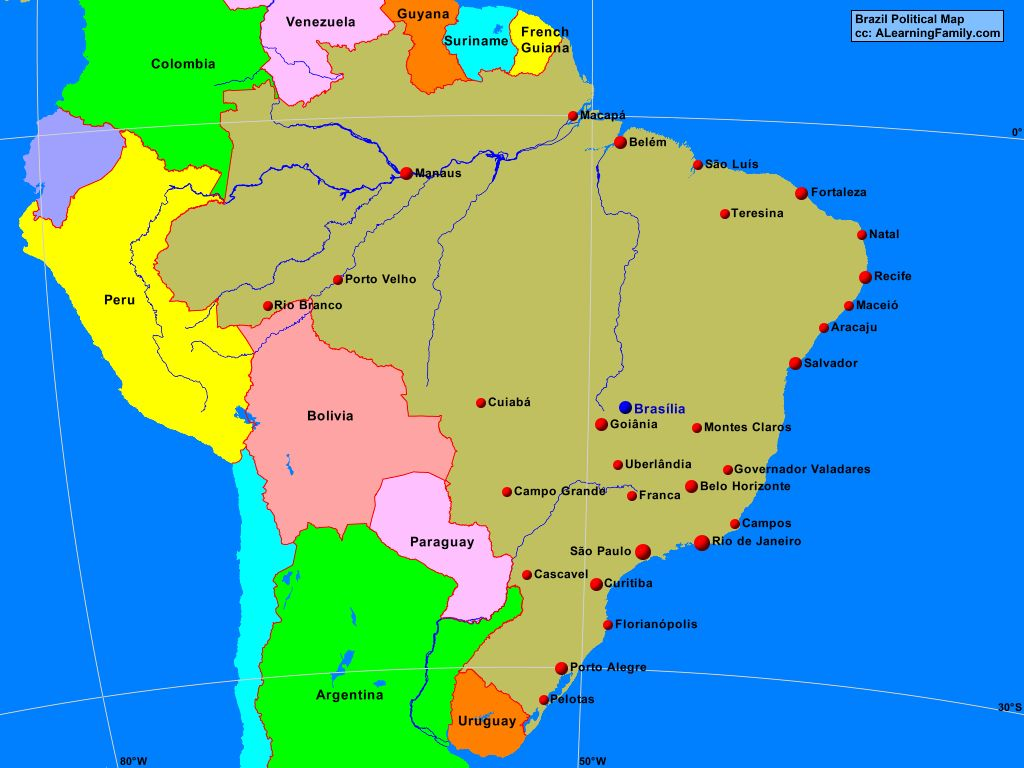 Africa African Continent Political Map Page Of A - Brazil political map