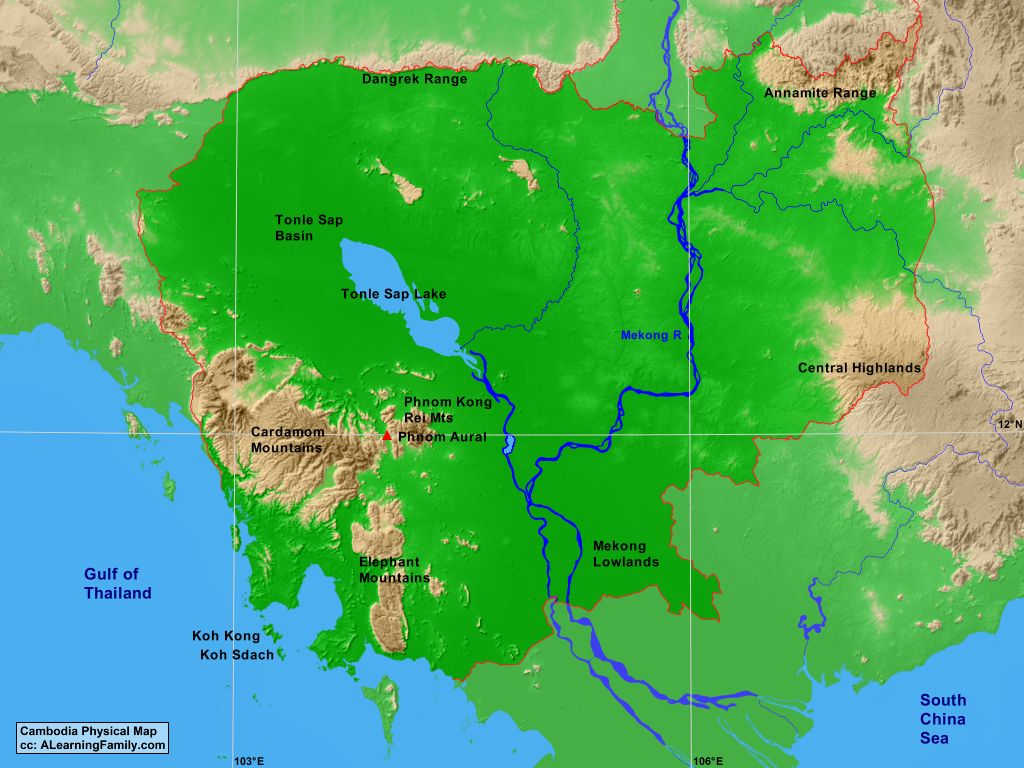 Cambodias Physical Geography A Learning Family - Us physical map central lowlands