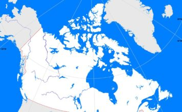 Canada outline map (cc: A Learning Family).