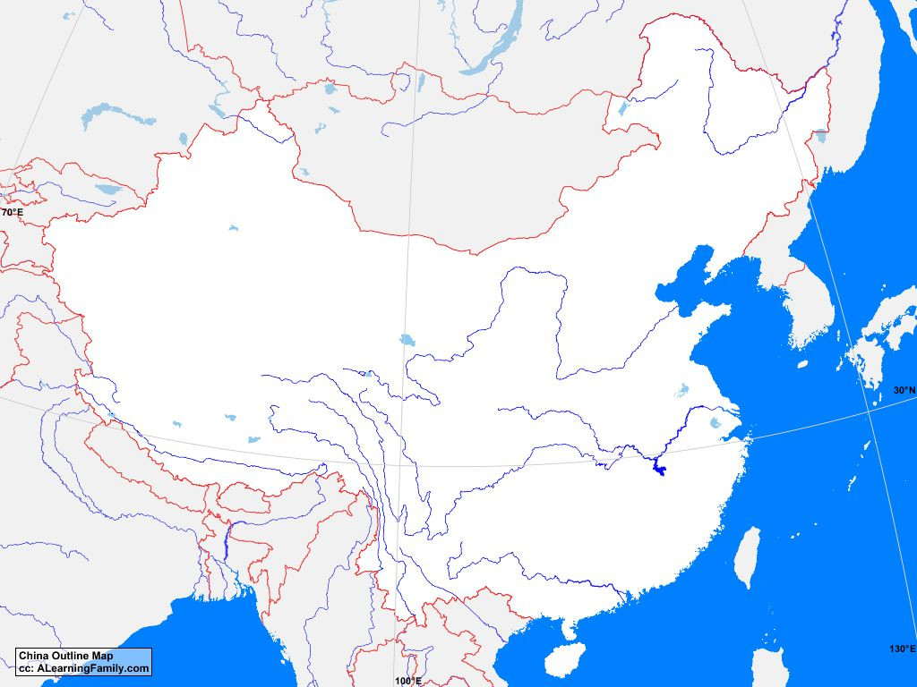 China Outline Map   A Learning Family