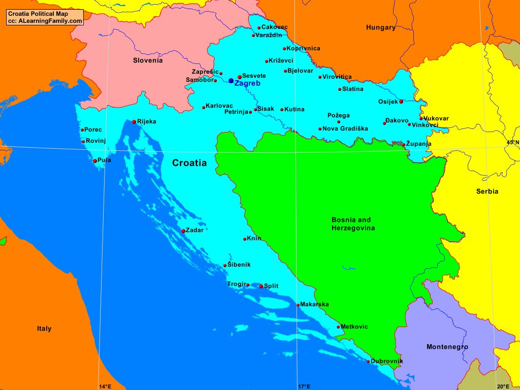 Croatia Political Map A Learning Family
