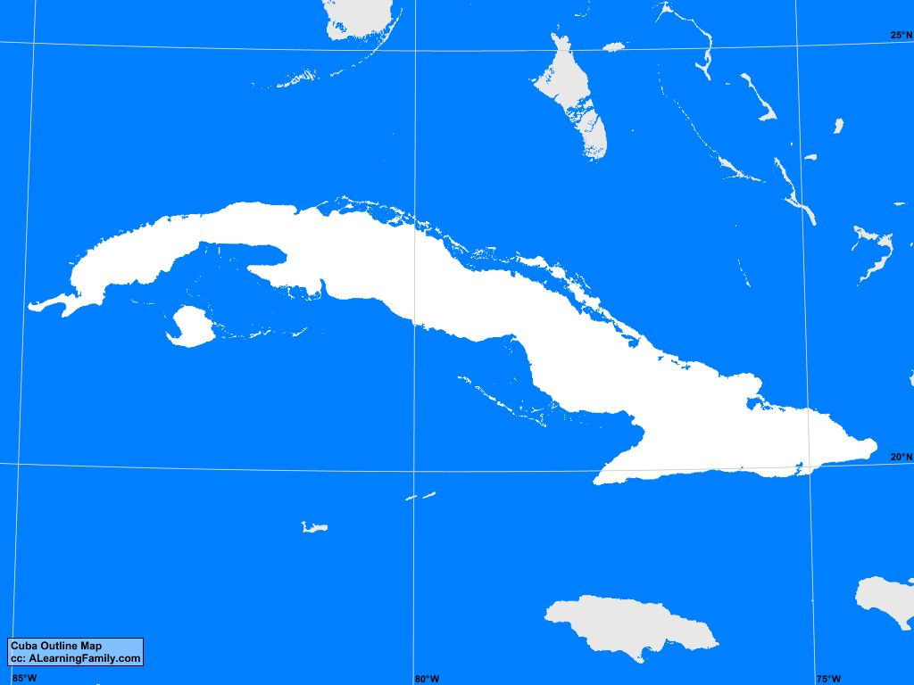 Cuba Outline Map A Learning Family