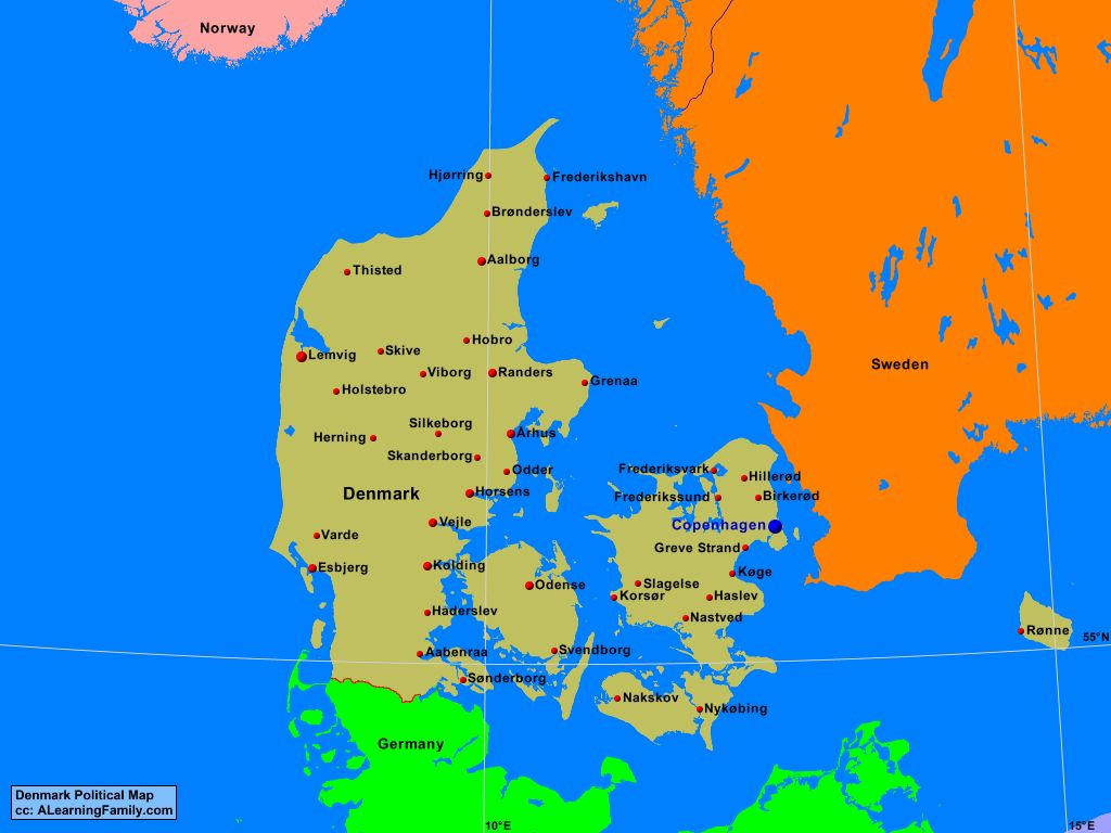 Denmark Political Map - A Learning Family