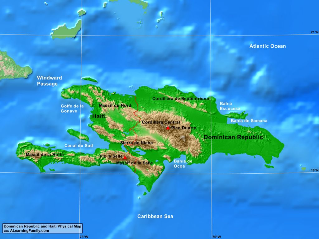 Lesser Antilles Political Map Page Of A Learning Family - Physical map of haiti