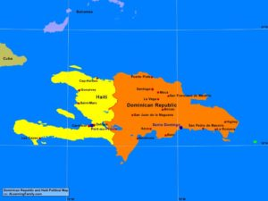 Dominican Republic and Haiti political map (cc: A Learning Family).