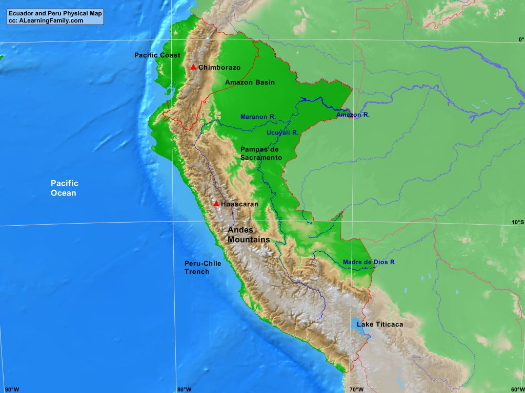Ecuador And Peru Physical Map A Learning Family - Physical map of peru