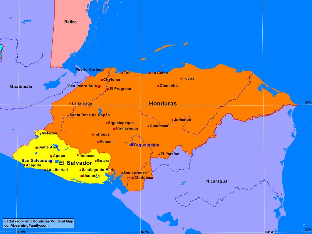 El Salvador And Honduras Political Map A Learning Family - Hondurus map