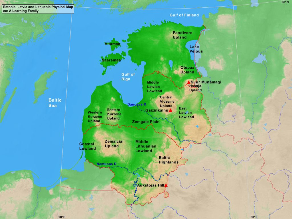 Estonia Latvia And Lithuania Physical Map A Learning Family - Us physical map central lowlands