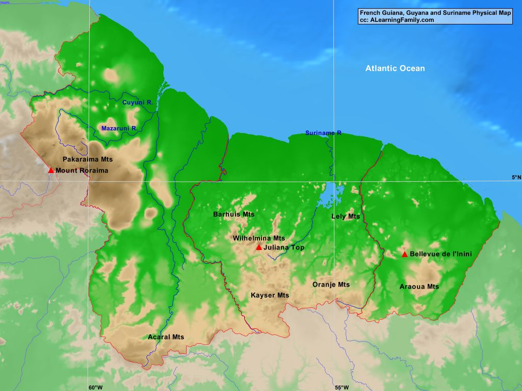 French Guiana Guyana and Suriname Physical Map A Learning Family