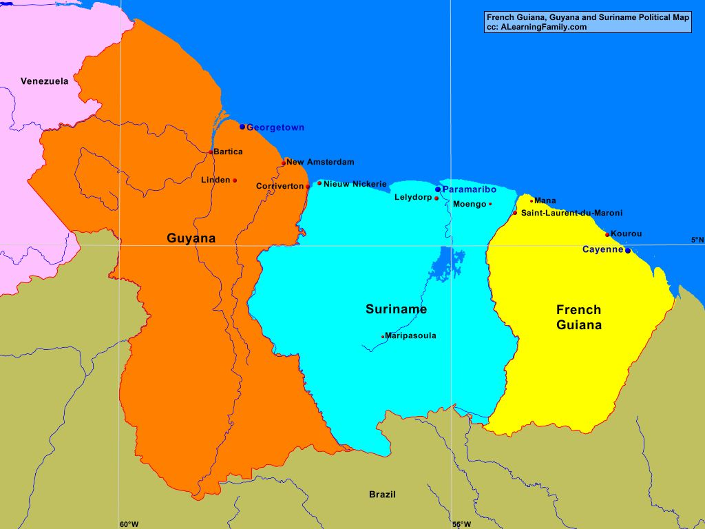 French Guiana Guyana And Suriname Political Map A Learning Family - paramaribo map