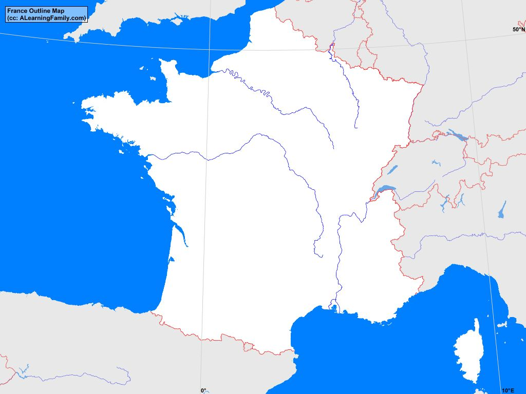 France Outline Map A Learning Family