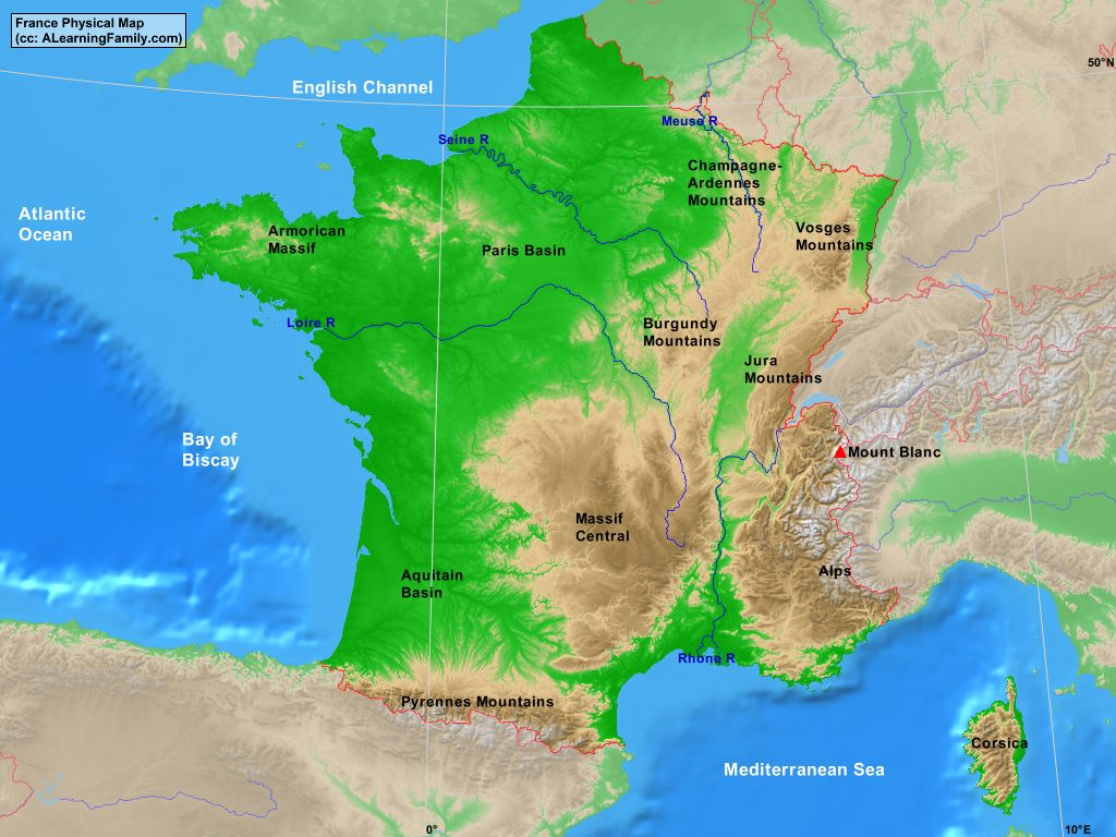 Map Of France In English.France Physical Map A Learning Family