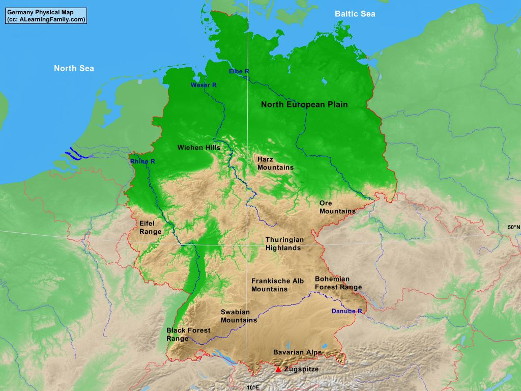 germany physical map cc a learning family