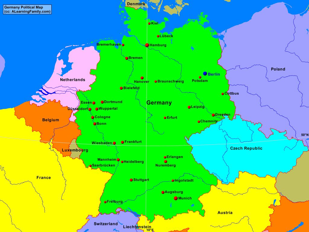 Germany Political Map - A Learning Family