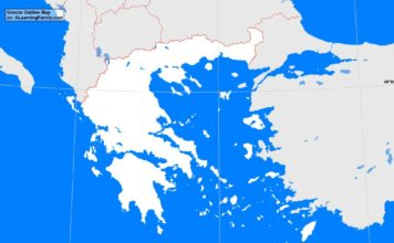 Greece outline map (cc: A Learning Family).