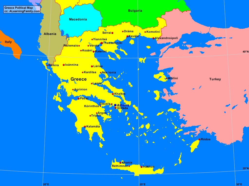 Greece Political Map A Learning Family