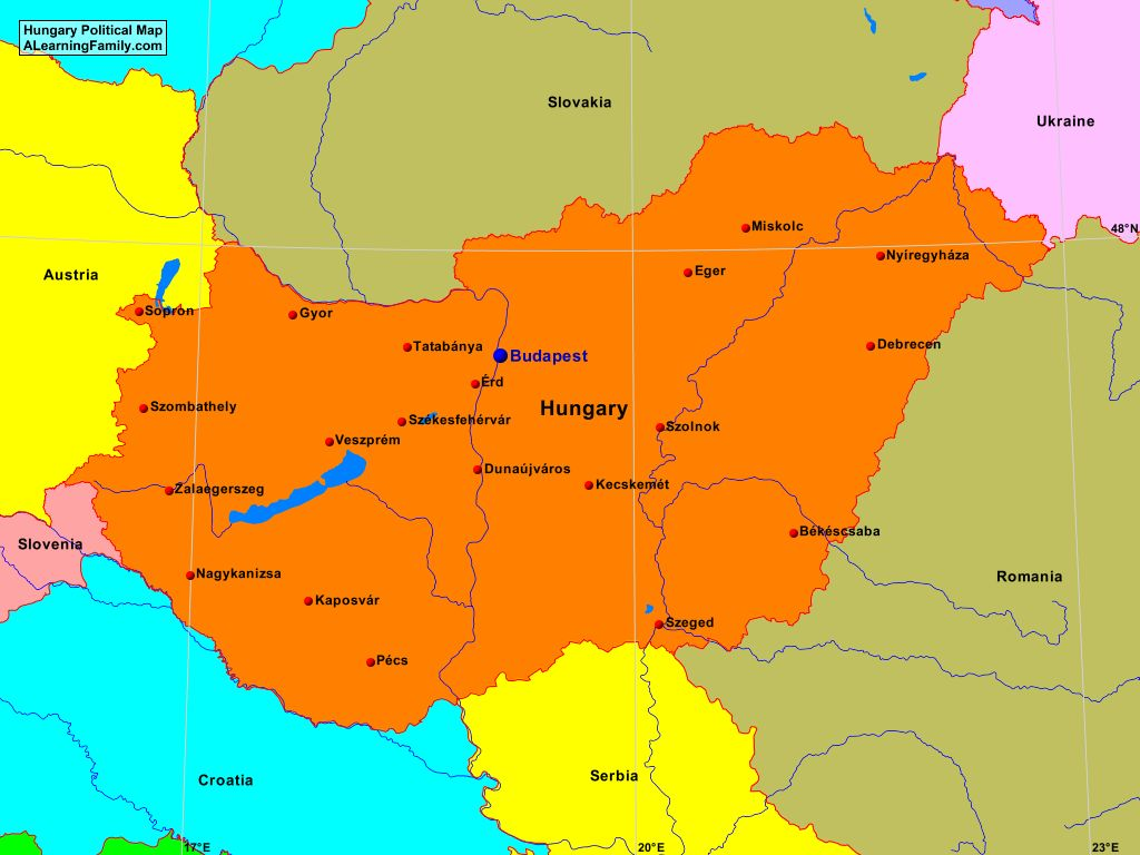 Hungary Political Map.Hungary Political Map A Learning Family