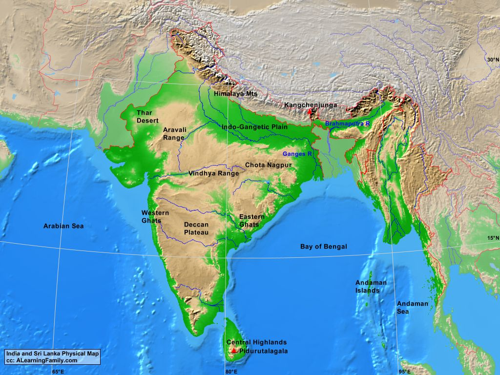 India and Sri Lanka Physical Map A Learning Family