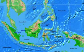 Indonesia physical map (cc: A Learning Family).