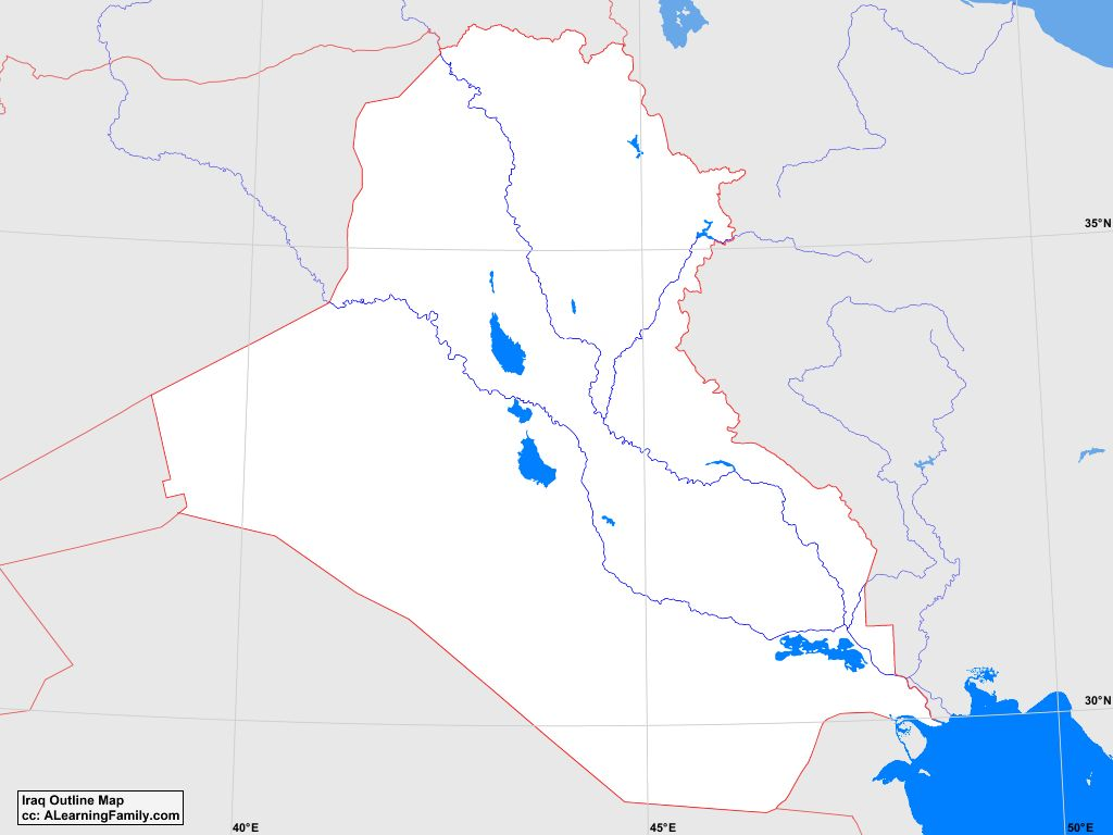 Iraq Outline Map - A Learning Family