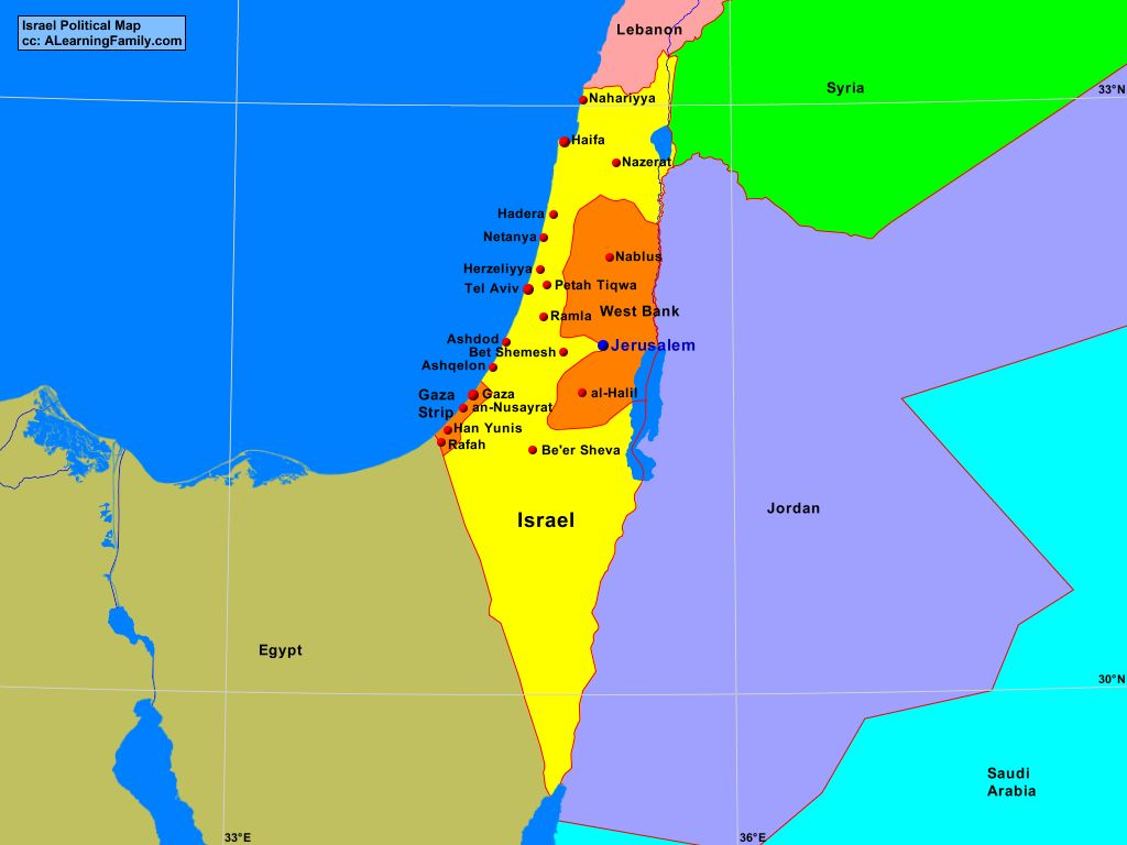 Israel Political Map - A Learning Family