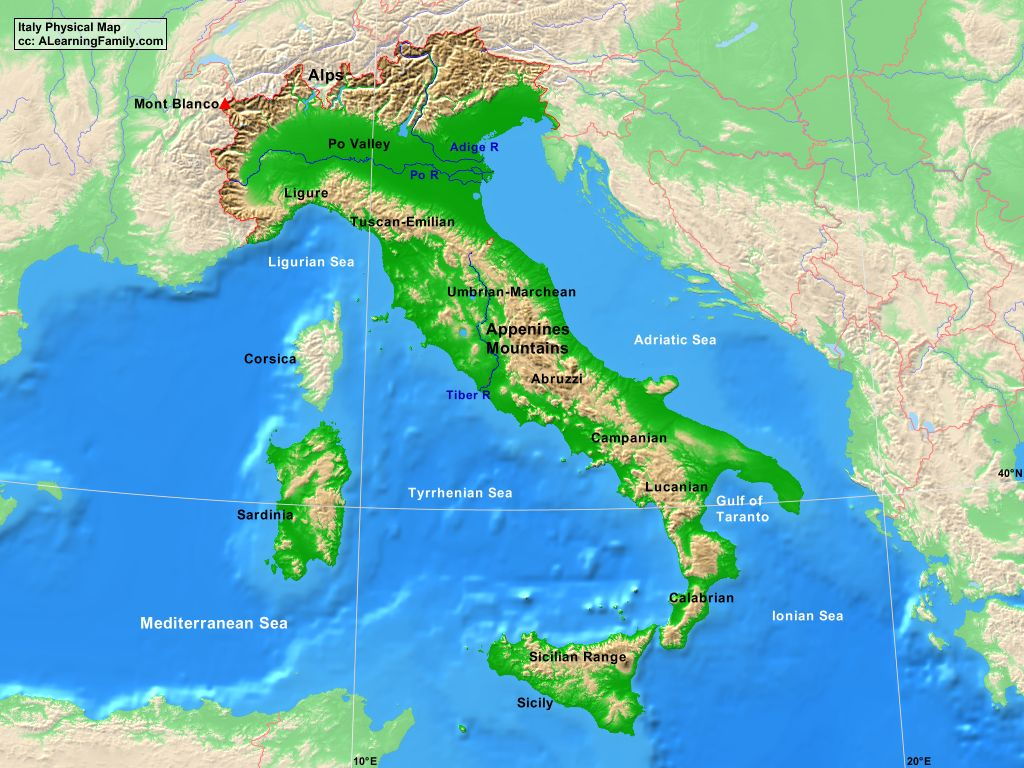Italy Physical Map A Learning Family