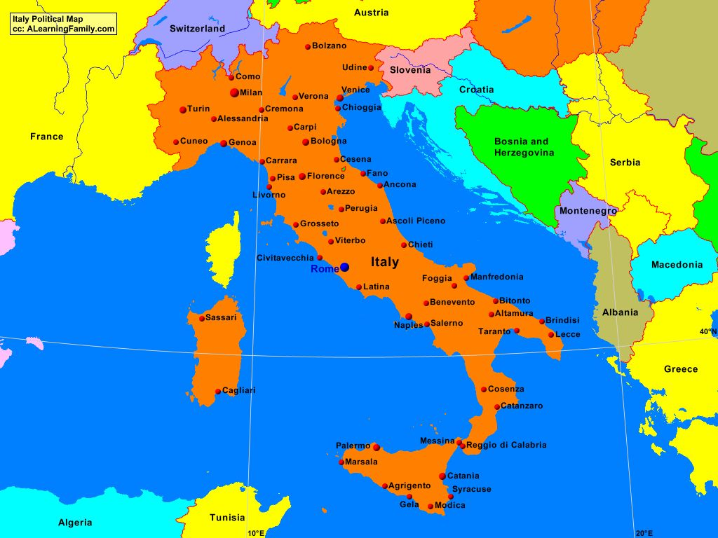 Italy Political Map A Learning Family