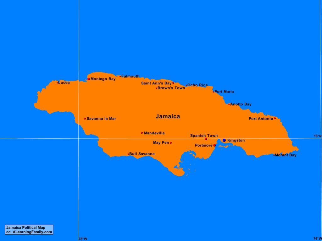 Jamaica Political Map A Learning Family