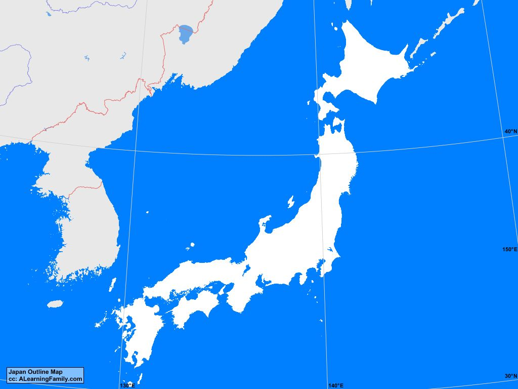 Japan Outline Map   A Learning Family