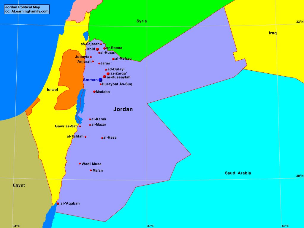 Political Map Of Jordan.Jordan Political Map A Learning Family