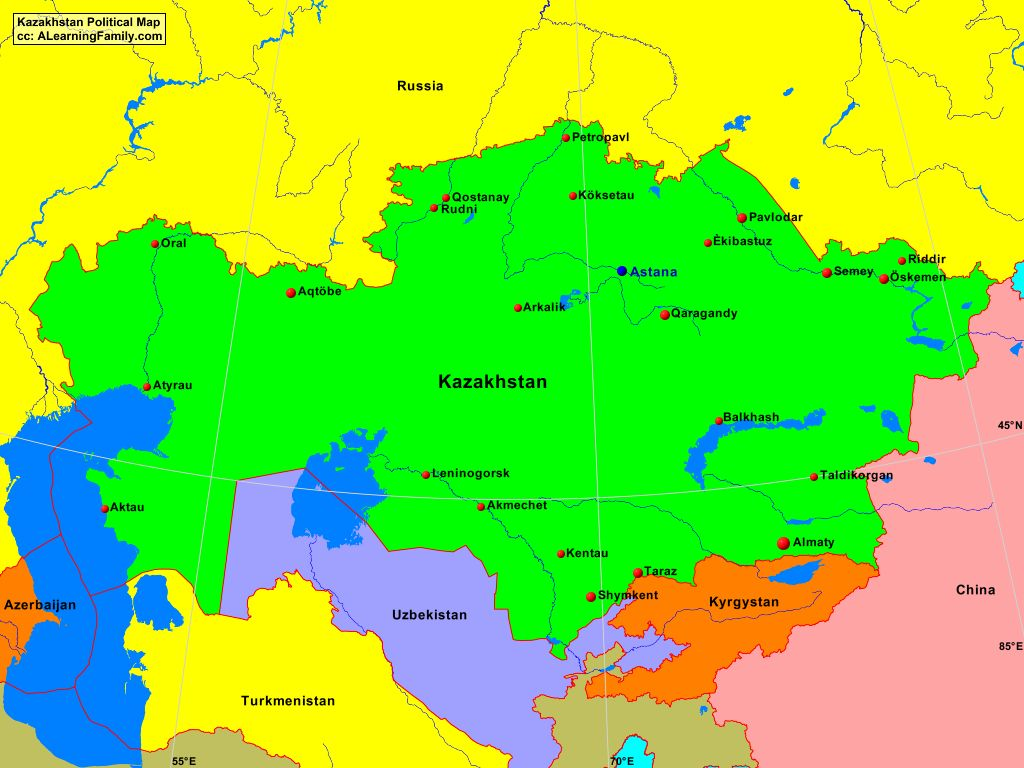Kazakhstan Political Map.Kazakhstan Political Map A Learning Family