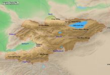 Kyrgystan physical map (cc: A Learning Family).